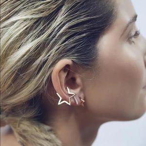 2 Pieces Cute Star Ear Cuff Earrings Silver / Gold